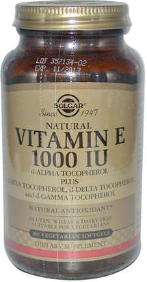 Vitaminas, Vitamina E, Vitamina E Mezcla De Tocoferoles Solgar, Natural Vitamin E, 1000 IU, d-Alpha Tocopherol & Mixed Tocopherols, 100 Vegetarian Softgels