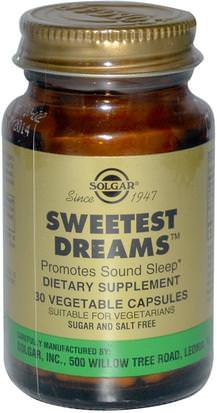 Suplementos, Melatonina 3 Mg Solgar, Sweetest Dreams, 30 Vegetable Capsules