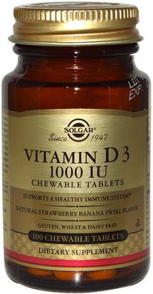 Vitaminas, Vitamina D3 Solgar, Vitamin D3, Natural Strawberry Banana Swirl Flavor, 1000 IU, 100 Chewable Tablets