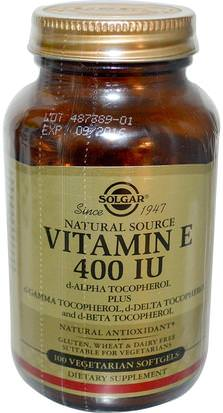 Vitaminas, Vitamina E Solgar, Natural Vitamin E, 400 IU, d-Alpha Tocopherol & Mixed Tocopherols, 100 Vegetarian Softgels