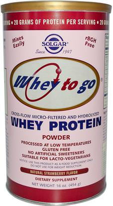 Suplementos, Proteína De Suero De Leche Solgar, Whey To Go, Whey Protein Powder, Natural Strawberry Flavor, 16 oz (454 g)