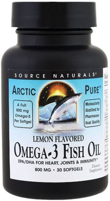 Suplementos, Efa Omega 3 6 9 (Epa Dha), Aceite De Pescado Source Naturals, ArcticPure, Omega-3 Fish Oil, Lemon, 800 mg, 30 Softgels