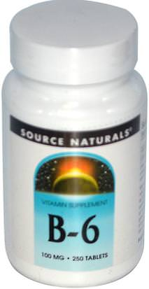 Vitaminas, Vitamina B6 - Piridoxina Source Naturals, B-6, 100 mg, 250 Tablets