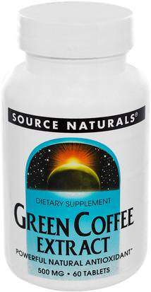 Suplementos, Antioxidantes, Extracto De Grano De Café Verde Source Naturals, Green Coffee Extract, 500 mg, 60 Tablets