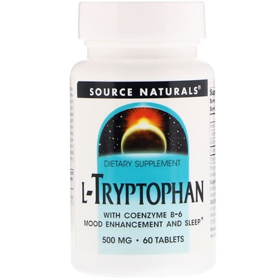 Suplementos, L Triptófano, Aminoácidos Source Naturals, L-Tryptophan with Coenzyme B-6, 500 mg, 60 Tablets