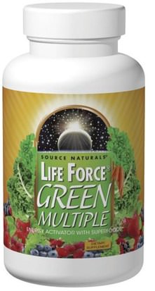 Vitaminas, Multivitaminas, Fuerza Vital Source Naturals, Life Force, Green Multiple, 180 Tablets