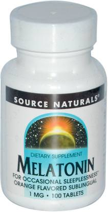 Suplementos, Melatonina 1 Mg Source Naturals, Melatonin, Orange Flavored Lozenge, 1 mg, 100 Lozenges