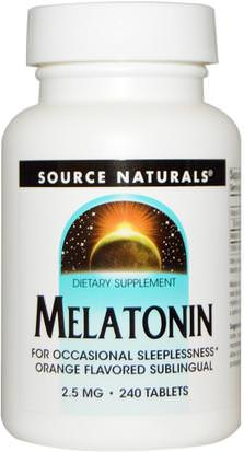 Suplementos, Complejo De Melatonina Source Naturals, Melatonin, Orange Flavored Lozenge, 2.5 mg, 240 Lozenges