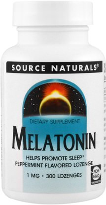 Suplementos, Dormir, Melatonina Source Naturals, Melatonin, Peppermint Flavored Lozenge, 1 mg, 300 Lozenge