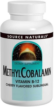 Vitaminas, Vitamina B12, Vitamina B12 - Metilcobalamina Source Naturals, MethylCobalamin, Cherry Flavored, 5 mg, 60 Tablets