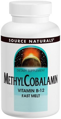 Vitaminas, Vitamina B12, Vitamina B12 - Metilcobalamina Source Naturals, Methylcobalamin Fast Melt, 5 mg, 60 Tablets