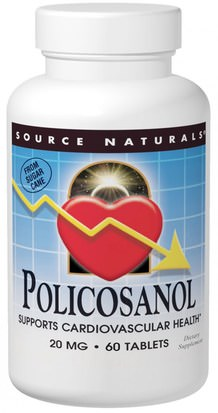 Suplementos, Policosanol Source Naturals, Policosanol, 20 mg, 60 Tablets