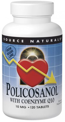 Coq10, Suplementos, Policosanol Source Naturals, Policosanol, with Coenzyme Q10, 10 mg, 120 Tablets