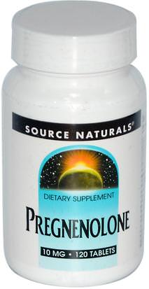 Suplementos, Pregnenolona Source Naturals, Pregnenolone, 10 mg, 120 Tablets