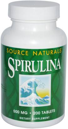 Suplementos, Espirulina Source Naturals, Spirulina, 500 mg, 200 Tablets
