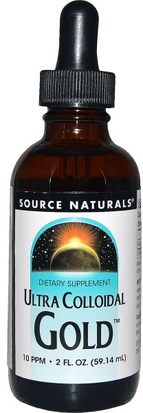 Suplementos, Minerales, Minerales Líquidos, Oro Coloidal Source Naturals, Ultra Colloidal Gold, 10 PPM, 2 fl oz (59.14 ml)