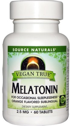 Suplementos, Complejo De Melatonina Source Naturals, Vegan True, Melatonin, Orange, 2.5 mg, 60 Tablets