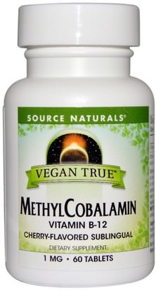 Vitaminas, Vitamina B, Vitamina B12, Vitamina B12 - Metilcobalamina Source Naturals, Vegan True, MethylCobalamin, Cherry Flavor, 1 mg, 60 Sublingual Tablets