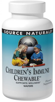 Salud, Gripe Fría Y Viral, Sistema Inmune, Productos De Fórmula De Bienestar Source Naturals, Wellness, Childrens Immune Chewable, Delicious Berry Flavor, 30 Wafers