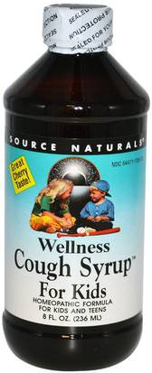 Productos Para La Salud De La Salud Infantil, La Gripe Fría, La Gripe Fría Y Viral, Bienestar Source Naturals, Wellness Cough Syrup For Kids, Great Cherry Taste, 8 fl oz (236 ml)