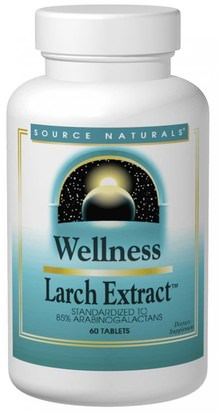 Salud, Gripe Fría Y Viral, Larix (Extracto De Alerce), Productos De Fórmula De Bienestar Source Naturals, Wellness, Larch Extract, 60 Tablets