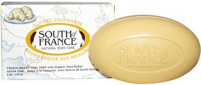 Baño, Belleza, Jabón, Manteca De Karité South of France, Almond Gourmande, French Milled Oval Soap with Organic Shea Butter, 6 oz (170 g)