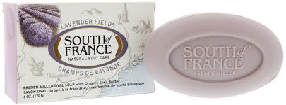 Baño, Belleza, Jabón, Manteca De Karité South of France, Lavender Fields, French Milled Oval Soap with Organic Shea Butter, 6 oz (170 g)