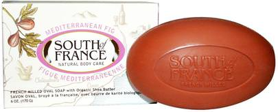 Baño, Belleza, Jabón, Manteca De Karité South of France, Mediterranean Fig, French Milled Oval Soap with Organic Shea Butter, 6 oz (170 g)