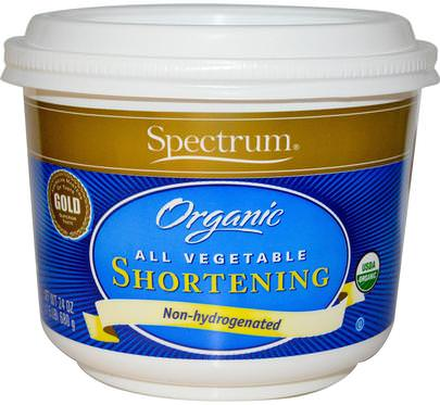 Alimentos, Productos De Panadería, Manteca Vegetal Spectrum Naturals, Organic All Vegetable Shortening, 24 oz (680 g)