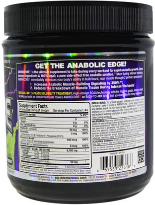 ALLMAX Nutrition, Aminocore, BCAA Max Strength, 8G Branched Chain Amino Acid, Gluten Free, Key Lime Cherry, 1 lbs (462 g) Deportes