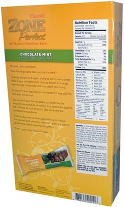 ZonePerfect, Classic, All-Natural Nutrition Bars, Chocolate Mint, 12 Bars, 1.76 oz (50 g) Each) Deportes, Barras De Proteína, Barras Nutricionales