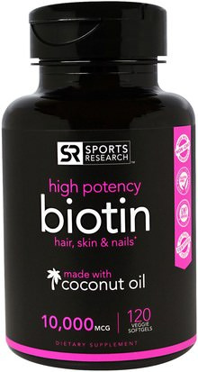 Vitaminas, Vitamina B, Biotina Sports Research, Biotin, 10,000 mcg, 120 Veggie Softgels