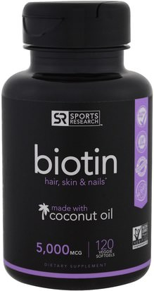 Vitaminas, Vitamina B, Biotina Sports Research, Biotin, 5,000 mcg, 120 Veggie Softgels