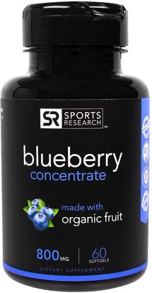 Hierbas, Arándano Sports Research, Blueberry Concentrate, 800 mg, 60 Softgels