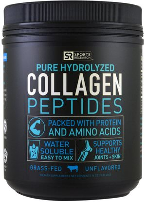 Deportes, Deporte, Hueso, Osteoporosis, Colágeno Sports Research, Collagen Peptides, Unflavored, 16 oz (454 g)