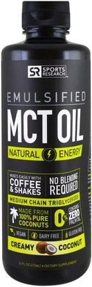 Comida, Keto Amigable, Energía, Aceite De Mct Sports Research, Emulsified, MCT Oil, Creamy Coconut, 16 fl oz (473 ml)