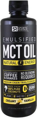 Comida, Keto Amigable, Energía, Aceite De Mct Sports Research, Emulsified, MCT Oil, Creamy Vanilla, 16 fl oz (473 ml)