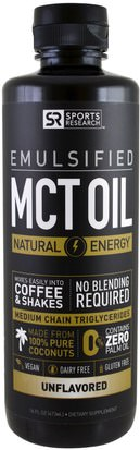 Comida, Keto Amigable, Energía, Aceite De Mct Sports Research, Emulsified, MCT Oil, Unflavored, 16 fl oz (473 ml)