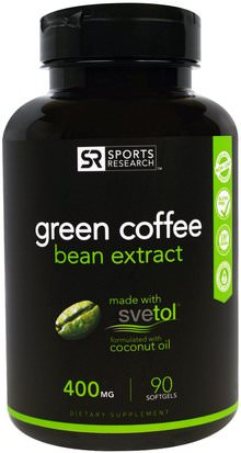 Suplementos, Antioxidantes, Extracto De Grano De Café Verde Sports Research, Green Coffee Bean Extract, 400 mg, 90 Softgels