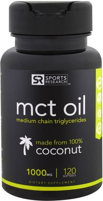 Comida, Keto Amigable, Energía, Aceite De Mct Sports Research, MCT Oil, 1000 mg, 120 Softgels
