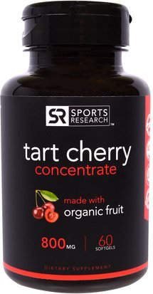 Suplementos, Extractos De Frutas, Cereza (Fruta Negra Silvestre) Sports Research, Tart Cherry Concentrate, 800 mg, 60 Softgels