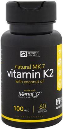 Vitaminas, Vitamina K Sports Research, Vitamin K2, 100 mcg, 60 Veggie Softgels