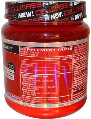 BSN, Cellmass 2.0, Concentrated Post Workout Recovery, Arctic Berry, 1.06 lbs (485 g) Deportes, Deporte, Musculatura