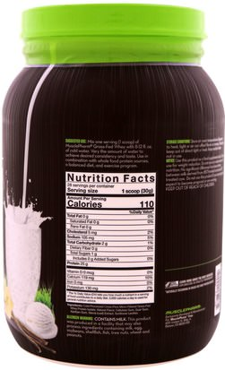 MusclePharm Natural, Grass-Fed Whey, Natural Whey Protein Powder Drink Mix, Vanilla, 1.85 lbs (840 g) Deportes, Suplementos, Proteínas