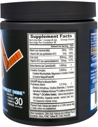 EVLution Nutrition, ENGN Pre-Workout, Orange Dream, 8.7 oz (246 g) Deportes, Entrenamiento, Músculo