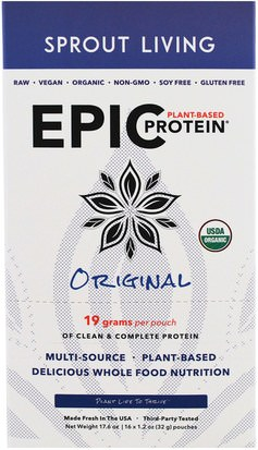 Suplementos, Proteína Sprout Living, Epic Plant-Based Protein, Original, 16 Pouches, 1.2 oz (32 g) Each