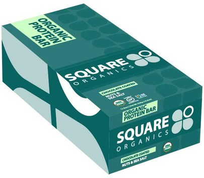 Deportes, Barras De Proteína, Refrigerios, Refrigerios Saludables Square Organics, Organic Protein Bar, Chocolate Coated Nuts & Sea Salt, 12 Bars, 1.6 oz (44 g) Each
