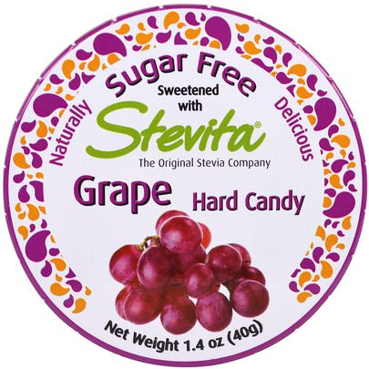 Comida, Bocadillos, Dulces Stevita, Grape Hard Candy, Sugar Free, 1.4 oz (40 g)