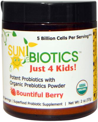 Suplementos, Probióticos, Probióticos Infantiles Sunbiotics, Just 4 Kids! Potent Probiotics with Organic Prebiotics Powder, Bountiful Berry, 2 oz (57 g)