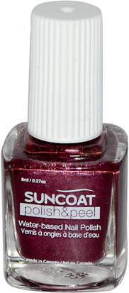 Baño, Belleza, Maquillaje, Esmalte De Uñas Suncoat, Polish & Peel, Water-Based Nail Polish, Mulberry, 0.27 oz (8 ml)